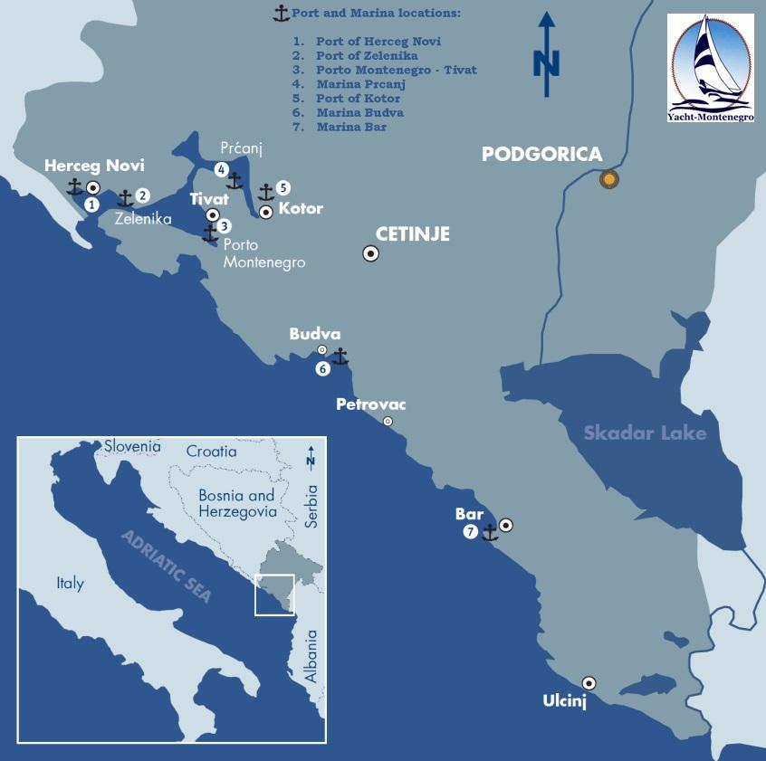 YACHTMONTENEGRO DOO Yacht Charter Motor Yacht Sailing Boat - Montenegro time zone map